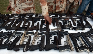 Weapons seized by Pakistan Rangers in Karachi.