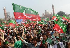 PTI supporters attend Imran Khan's rally in Lahore, 23 March.
