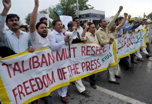 Journalists in Islamabad protest in 2009.