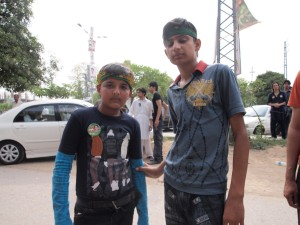 Two young PML-N supporters at Imran Khan's consituency in Rawalpindi. Photograph: Samira Shackle