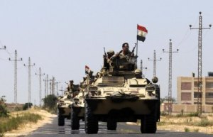 Tanks on the street in Egypt.