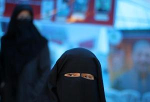 A woman wearing a niqab.
