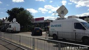 TV vans outside Park View school in Birmingham. (My own photo).