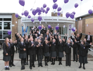 Balloons go up to mark the opening of the Durham Free School in Gilesgate.