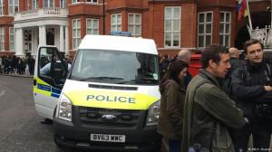 Outside the Ecuadorian Embassy in London. Photo my own.